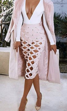 $59.99 Pale Bandage Cage Skirt And Shorties