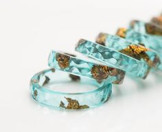 Mint Resin Ring Gold Flakes Small Faceted Stacking by daimblond