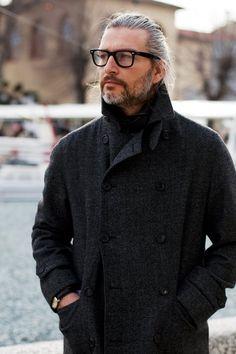 old men chique hair glasses black jacket coat streetstyle fashion men tumblr
