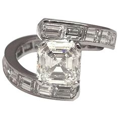Original Platinum Ring Set With Square Cut and Baguette Diamonds | From a unique collection of vintage engagement rings at https://www.1stdibs.com/jewelry/rings/engagement-rings/