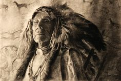 """2014 Cowboy Artists of America > John Coleman """"First Chief"""" charcoal on paper"""