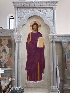 Byzantine Icons, Byzantine Art, Christ Pantocrator, Church Interior, Orthodox Christianity, Orthodox Icons, Kirchen, Altar, Fresco