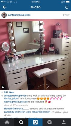 [gallery Makeup vanity chair is actually similar to bench for a bedroom vanity. It is commonly designed in small size that fits the vanity itself. Makeup Vanity Storage, Diy Vanity, Vanity Decor, Vanity Ideas, Makeup Vanities, White Vanity, Makeup Organization, Vanity Drawers, Makeup Desk