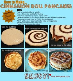 How to Make Cinnamon Roll Pancakes.  Recipe looks a bit involved for a busy mom but delicious to make ahead.  I wonder if they reheat well?