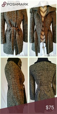 ❄HP❄ Calvin Klein tie-waist coat Wool blend, notched collar, concealed front snap closure. Bottons, zip, and self tie belt. Long sleeves, lined. Excellent condition! Great construction. Fall fashion HP! Calvin Klein Jackets & Coats Pea Coats