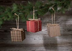 HOMESPUN PACKAGE ORNAMENT-PKG. 3-homespun country ornaments packages tree christmas
