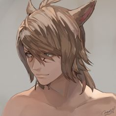 1boy animal_ears brown_hair cat_ears collarbone dated facial_mark final_fantasy final_fantasy_xiv green_eyes long_hair male_focus miqo'te momoko_(momopoco) portrait signature sketch slit_pupils solo