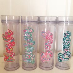 PERSONALIZED WATER BOTTLE - 16oz skinny custom made for you with Lilly Pulitzer print! Fits great in a stocking and at $14 you can get one for everyone in the family! by GracieMaeGifts on Etsy
