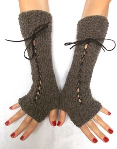 Christmas Gift for Her Knit Fingerless Gloves Long Wrist Warmers Brown Corset Gloves with Suede Ribbons Victorian Style Fancy Buttons, Fingerless Gloves Knitted, Wrist Warmers, Christmas Gifts For Her, Victorian Fashion, Hand Knitting, Handmade Items, Ribbons, Corset