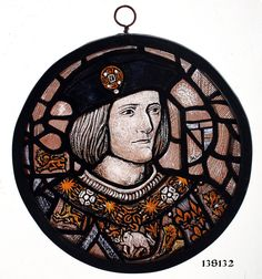 Stained Glass Window Roundel, King Richards Portrait, hand painted panel, Leaded, Hangable,  ref:13S132
