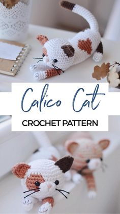 Crochet Cat Pattern, Crochet Animal Patterns, Stuffed Animal Patterns, Crochet Patterns Amigurumi, Cute Crochet, Crochet Animals, Crochet Crafts, Crochet Dolls, Yarn Crafts