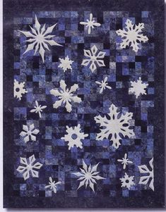 Snowfall applique quilt pattern by fourth & Sixth Designs Blue Quilts, Star Quilts, Quilt Blocks, Batik Quilts, Snowflake Quilt, Snowflakes, Quilting Projects, Sewing Projects, Quilting Ideas