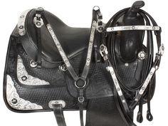 Beautiful Royal 15 Blk Leather Texas Star Western Show Silver Trim Saddle w Tack | eBay