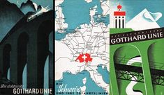 In 1935 designer Bernard Reber (1910-1992) created a colorful illustration with stylized elements of the Gotthard Railway.