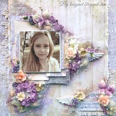 Timeless Beauty layout using Blue Fern Deja Vu Collection for Bella Paperie - Bec Genet Scrapbook Page Layouts, Scrapbook Pages, Photo Layouts, Scrapbook Designs, Mixed Media Scrapbooking, Shabby Chic, Scrapbook Embellishments, Baby Scrapbook, Pretty Cards