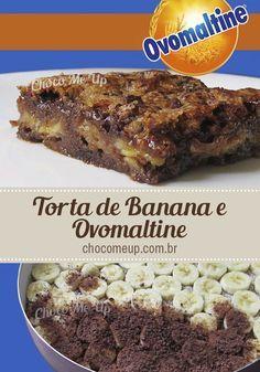 Receita de torta de banana e Ovomaltine com gotas de Chocolate. Uma ótima alternativa, super fácil de fazer e cheia de Ovomaltine para a tradicional torta de banana de preguiçoso #receita #torta #chocolate #ovomaltine #banana #receitadetorta #receitacomovomaltine #sobremesa #doce #receitafácil #receitarápida