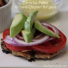 Ground Chicken Burgers: Flavorful, Simple, and Paleo! This is the best ground chicken burgers recipe I have found. ❤️delish will make again Ground Chicken Burgers, Ground Chicken Recipes, Turkey Burgers, Healthy Cooking, Healthy Eating, Clean Eating, Healthy Foods, Paleo Recipes, Cooking Recipes