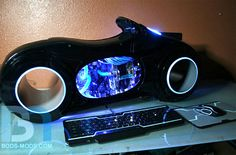 Tron Lightcycle custom computer case mod. Not sure where you'd put the monitor, but when your PC looks this cool, do you care?