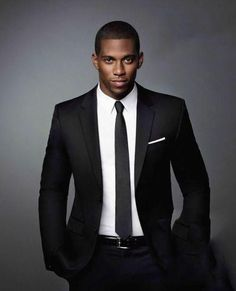 Men's Black Suit, White Dress Shirt, Black Tie, White Pocket ...