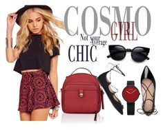 """""""Cosmo Chic"""" by anioganesova ❤ liked on Polyvore featuring Missguided, Accessorize, Salvatore Ferragamo and Kate Spade"""