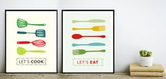 Downloadable print art for 8 x10 instant download, Lets cook & Lets eat Wall Art. Instant download, digital print, digital download, digital art, instant download art, digital, prints, wall print, instant download, printable art, nursery art, Kitchen art Print out the modern artwork from