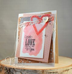 Handmade Valentine card by Stacey Schafer using the Chevron Love set from Verve.  #vervestamps #valentine