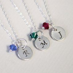Sterling Silver Initial Necklace with Birthstone Crystals, Birthstone Necklace, Bridesmaid Necklace Bridesmaid Necklace Flower Girl Necklace