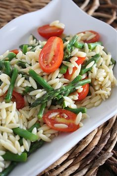 Lemon Orzo Salad with Asparagus and Tomatoes - Spring/Summer be sure to only use gluten free orzo!!