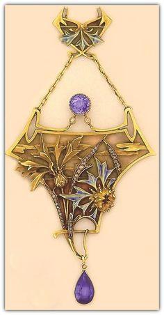 Lucien Gautrait - Art Nouveau Necklace. Plique-à-jour enamel, enamel, sapphire, and carved gold flora necklace.