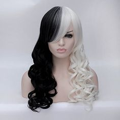 Quality Women Cruella Deville Cosplay Wig Black White Synthetic Long Curly Wigs +wig cap with free worldwide shipping on AliExpress Mobile Cruella Deville, Long Hair Wigs, Curly Wigs, Curly Full Lace Wig, Long Curly, Costume Wigs, Cosplay Wigs, Black And White Wig, Long Black