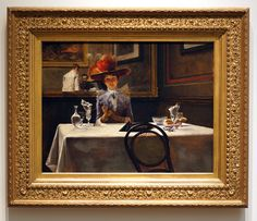 """""""The Corner Table"""", oil on canvas, c.1886. American Artist: Irving Ramsey Wiles, (1861-1948). ~ {cwl} ~ (Image: Sotheby's Auction)"""