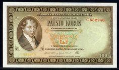 Czechoslovakian currency 500 Korun banknote of 1946 Ján Kollár Banknote, European Countries, Czech Republic, Coins, History, Retro, Design, Historia, Rooms