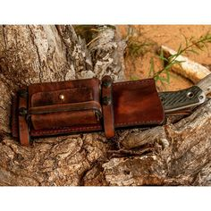 """""""Here is my Scout style sheath setup for a customers Swamprat knife.  Pouch fits an Altoid tin and the straps, pouch and loops are all removable.…"""""""