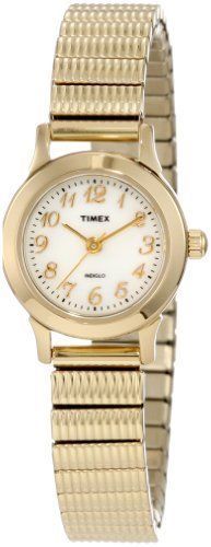 Timex Women's T2H691 Classic Gold-Tone Expansion Stainless Steel Bracelet Watch Timex. $37.95. Quartz movement. Water-resistant to 99 feet (30 M). Strong mineral crystal protects dial from scratches and scrapes. Stainless-steel case; White dial. Save 31% Off!