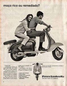 Propaganda da Lambretta nos anos 50. Foco para os jovens. - Além de transportar muitos jovens de décadas passadas, a Lambretta tornou um ícone. A Lambretta foi a primeira fábrica de veículos no Brasil, saindo na frente até mesmo da indústria automobilística.