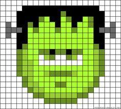 Halloween Frankenstein Cross Stitch or Perler Bead Pattern Perler Beads, Perler Bead Art, Fuse Beads, Hama Beads Halloween, Halloween Crochet, Pearler Bead Patterns, Perler Patterns, Needlepoint Patterns, Alpha Patterns