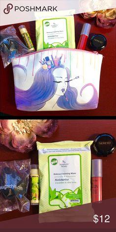 Ipsy Makeup Bag Bundle with Samples Tarte Nomad Never used Aug 2016 Ipsy Makeup Bag Bundle with Samples - Tarte lip cream - Nomad eyeshadow - mongongo vanilla coconut cream lip conditioner -Beaugachis makeup sponge ipsy Makeup