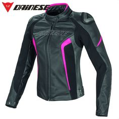 Dainese Women's Racing D1 Leather Jacket Black/Anthracite/Fuschia