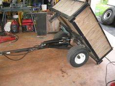 home made dump cart tractor Atv Dump Trailer, Lawn Mower Trailer, Atv Trailers, Trailer Diy, Trailer Build, Yard Tractors, Small Tractors, Small Garden Tractor, Homemade Whiskey