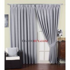 Elegant Solid Eco-friendly Grey Curtains Made in Artificial Fibers (Two Panels)