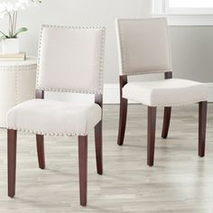 Shop for Safavieh En Vogue Dining Madison Nailhead Cream Linen Side Chairs (Set of 2). Get free shipping at Overstock.com - Your Online Furniture Outlet Store! Get 5% in rewards with Club O!