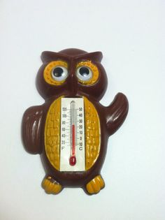 70's Owl Magnet with Thermometer by NowThatsVintage on Etsy, $6.00