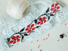 Bohemian trending jewelry Red flower bracelet Beaded ethnic bracelet Hippie…