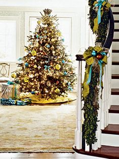 chartreuse and aqua provide a modern touch to a very traditional tree and garland...LOVE it!