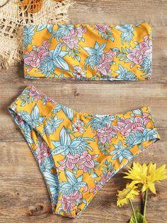 ceb71edccb3d5 Floral Bandeau Bikini Set Strapless Bikini High Waisted Swimwear Brazilian  Bathing Suit Swimming Suit For Women Beach Wear