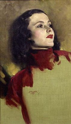 Portrait of a Woman (1945)  by David Jagger.  Incredibly good painting of the features and skin.