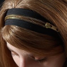 Zipper headband  2 ways headband black with gold by SchickiMickis, $25.00
