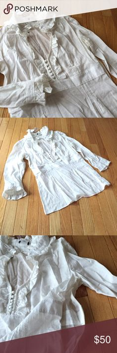 """NWT JCrew sheer button ruffle popover Sz 6 Gorgeous Victorian vintage feel with ruffles galore. Length approx. 25"""". Smoke free. l J. Crew Tops Blouses"""