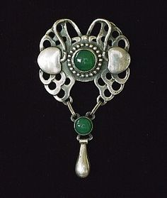 Georg Jensen. Design no. 2. Sterling silver and chrysoprase brooch pendant.