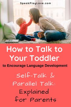 Toddler talking tips about using Parallel talk, expansion, and self-talk to carry over speech therapy at home! Great for language development too. Teach Toddler To Talk, Toddler Learning, Toddler Preschool, Toddler Activities, Teaching Baby To Talk, Teaching Ideas, Early Learning Activities, Play Based Learning, Speech Therapy Activities